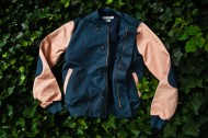 Clothes: KITH X Shades Of Grey By Micah Cohen – Navy/Salmon Baseball Jacket